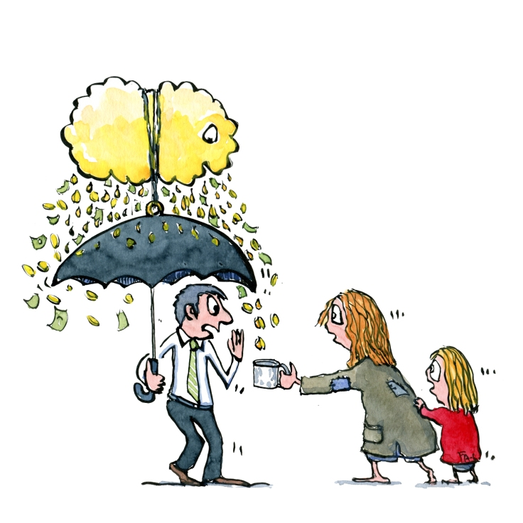 Man with tie and an umbrella with a golden money cloud above it. Poor woman with kid begging - Drawing by Frits Ahlefeldt