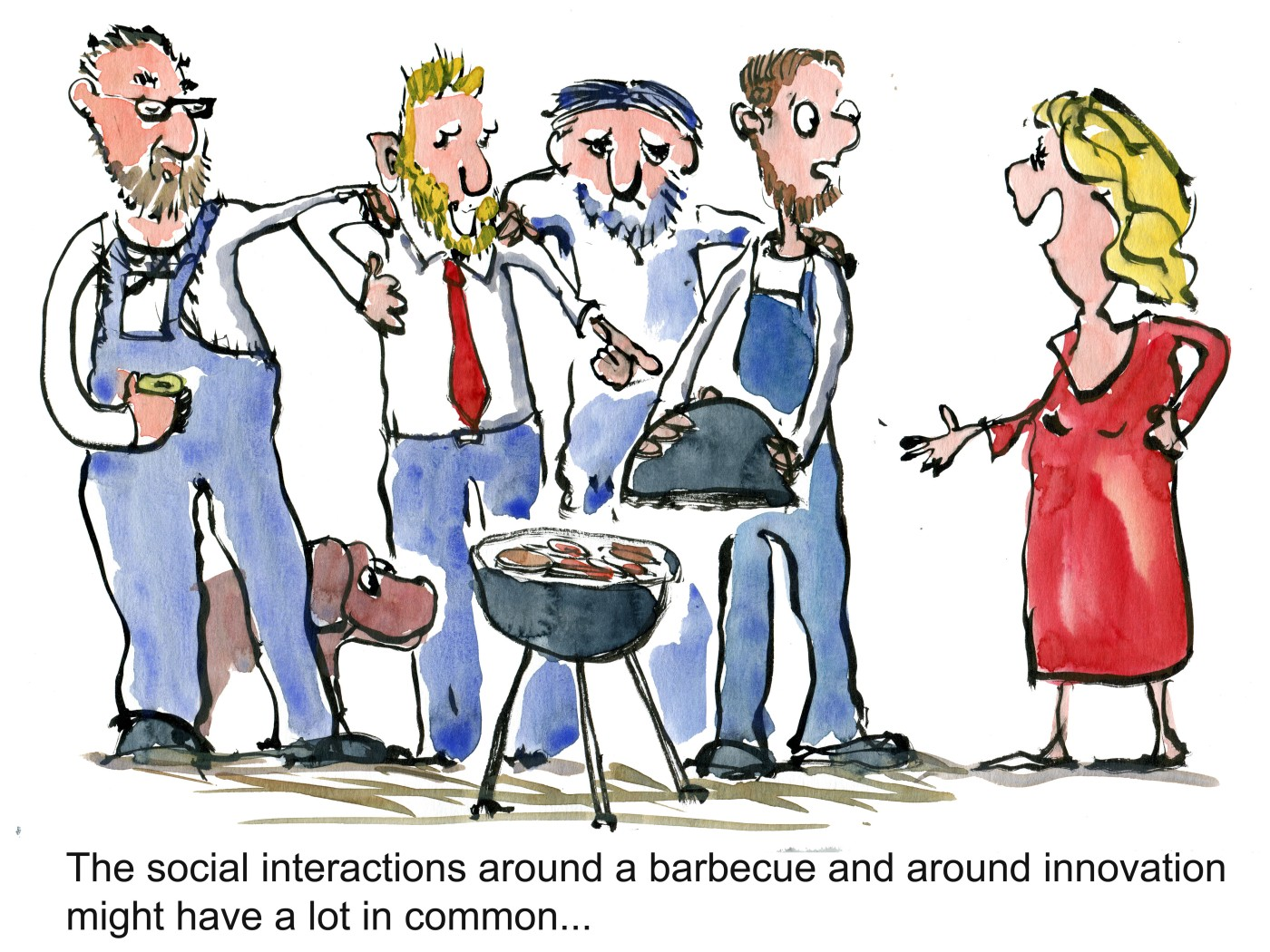 Group of men around barbecue same clothing, looking at a woman in red, making comments about it. Illustration by Frits Ahlefeldt