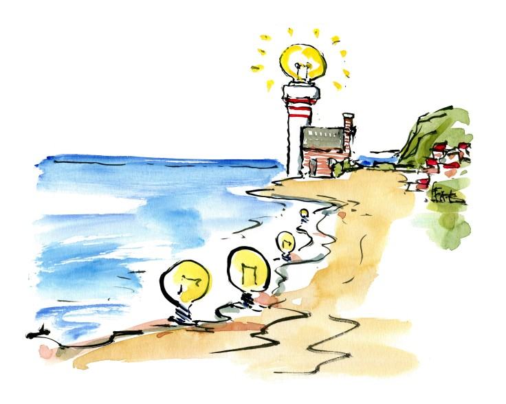 Lighthouse with a string of light bulbs along the beach Illustration by Frits Ahlefeldt