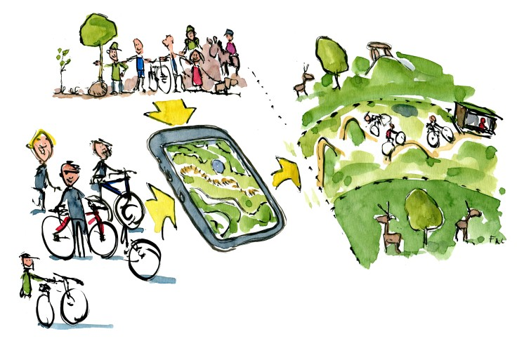 Mountainbike community with map and app. use Illustration by Frits Ahlefeldt