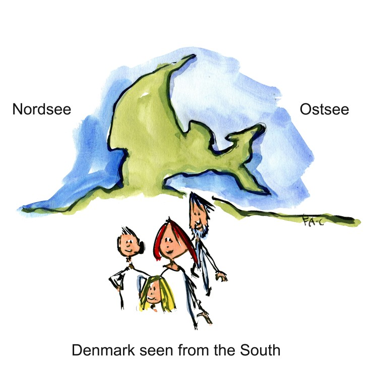 Group of people in front of map. Illustration by Frits Ahlefeldt