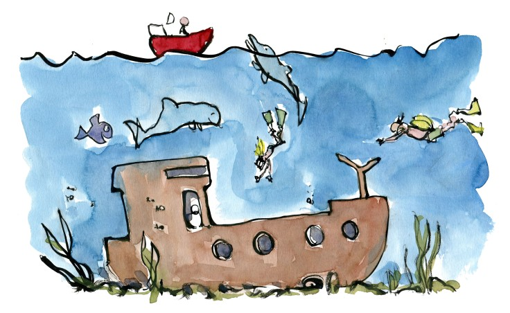 Divers swimming around sunken ship wreck. Illustration by Frits Ahlefeldt