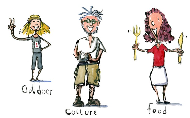 Outdoor girl, culture man and food woman drawings - archetypes Illustration by Frits Ahlefeldt