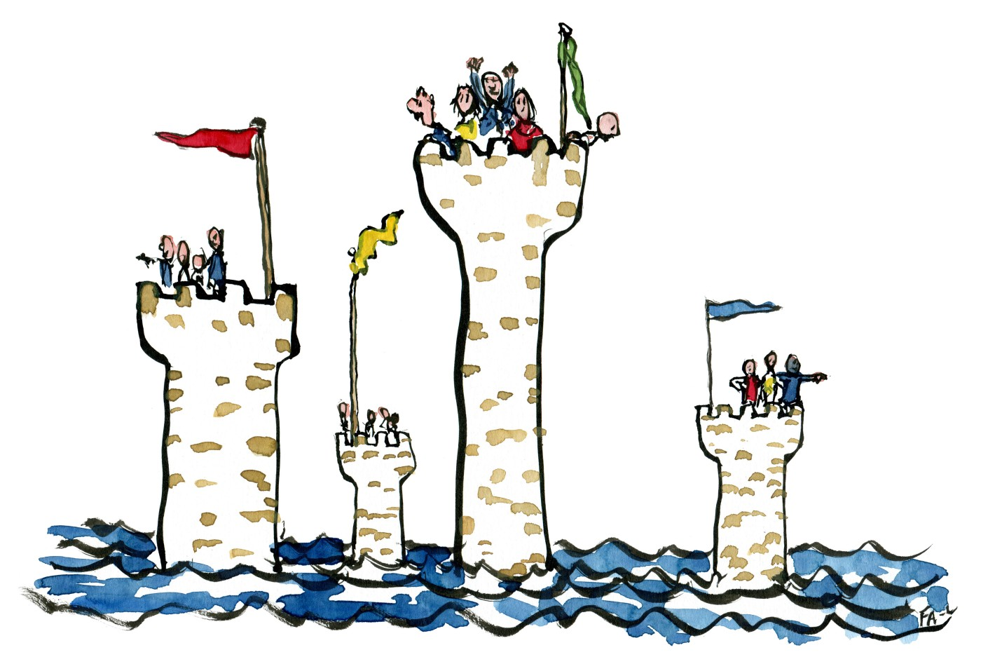 Defence tower like castles with people looking at each other far out in an ocean. Illustration by Frits Ahlefeldt