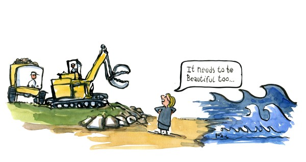 Drawing of huge machines building dykes and woman telling them that it needs to look nice. illustration by Frits Ahlefeldt
