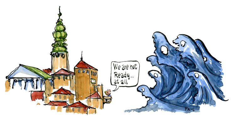 Big waves approacing a city and people saying we are not ready at all. illustration by Frits Ahlefeldt