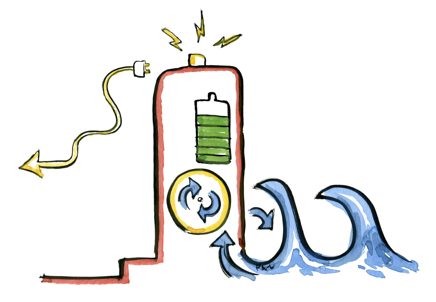 Drawing of a harbor like wall with electrical charging from energy in waves. illustration by Frits Ahlefeldt