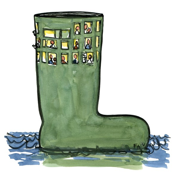 Drawing of a green rubberboot with windows like a house. illustration by Frits Ahlefeldt