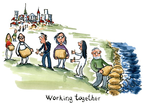 group of people working together to build a sand wall against rising sea Illustration by Frits Ahlefeldt