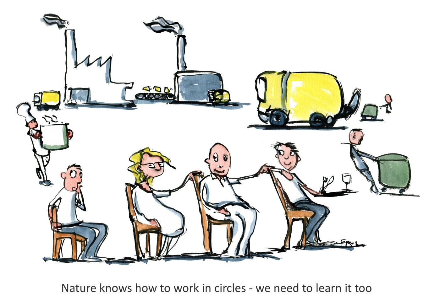 Drawing of people sitting on chairs in a circle part people part waste, part new products. illustration by Frits Ahlefeldt