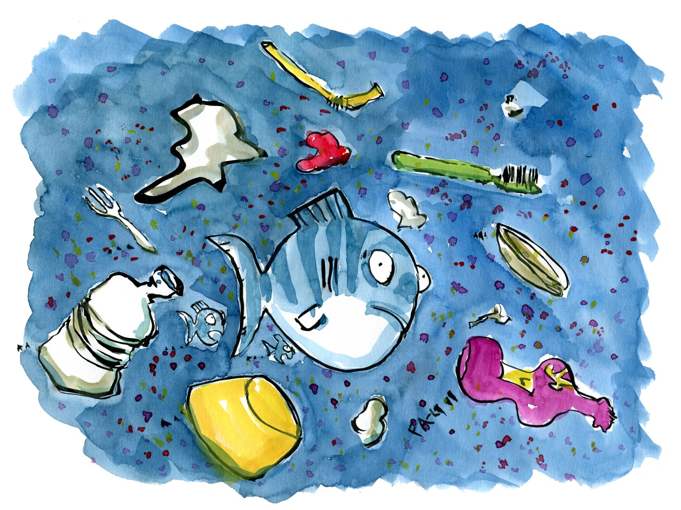 Drawing of a fish surrounded by plastic waste. Illustration by Frits Ahlefeldt