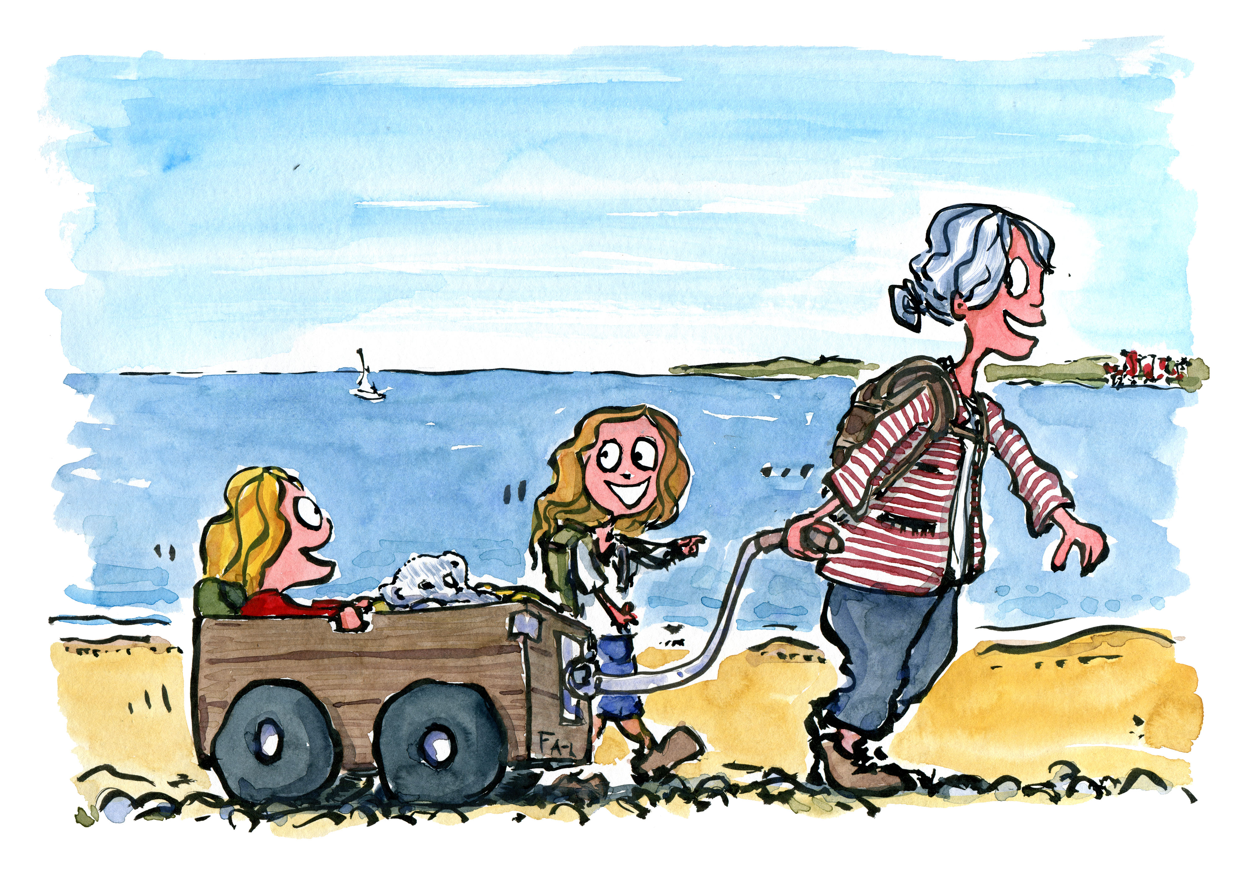 Old lady walking along the beach with a small wagon with her grandchildren. illustration by Frits Ahlefeldt
