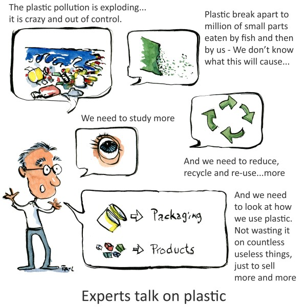 Expert man with speak bubbles about plastic - sea pollution, micro beads, an eye for study, and the difference between packaging and products. illustration by Frits Ahlefeldt