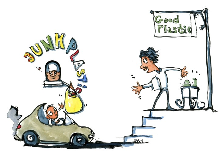 "drawing of a fastfood like shop with ""junk plastic"" written over it and a Gourmet restaurant up stairs with good plastic written on sign. illustration by Frits Ahlefeldt"