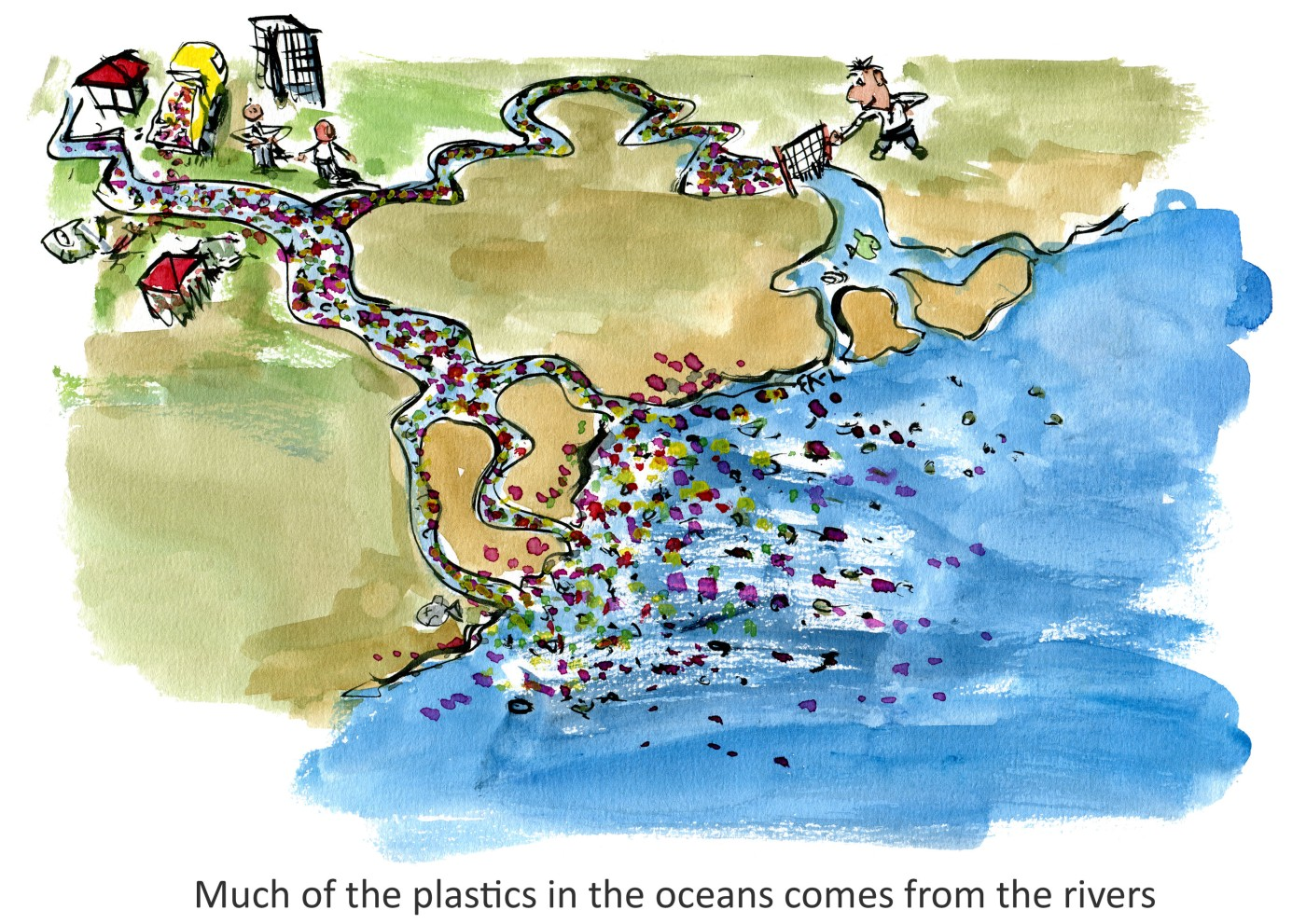 Drawing of rivers leading pollution into the ocean, with one person working to stop it with a net. illustration by Frits Ahlefeldt